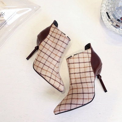 Summer Stiletto Heel Zipper Daily Pointed Toe Boots_4