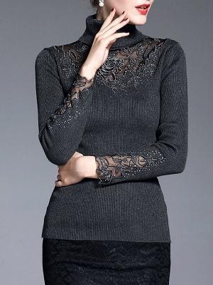 Shift Casual Long Sleeve Paneled Plain Sweater_2