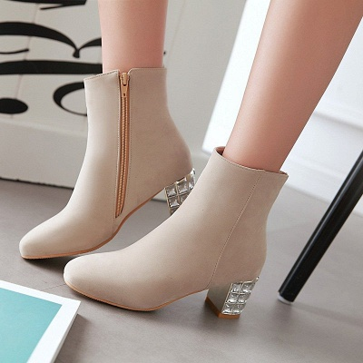 Chunky Heel Zipper Daily Pointed Toe Elegant Boots_7