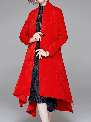 Red Buttoned Asymmetrical Long Sleeve Coat_1
