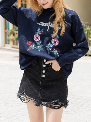 Royal blue Casual Long Sleeve Embroidered Shift Stand Collar Sweater_1