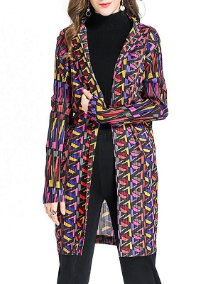 Multicolor Abstract Long Sleeve Shift Crinkled Coat_7