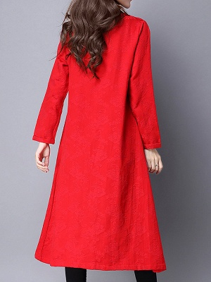 Linen Sleeveless A-line Casual Jacquard Coat_4