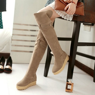 Suede Daily Wedge Heel Buckle Casual Boot_2