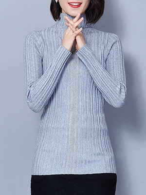 Ribbed Long Sleeve Solid Casual Sheath Sweater_5