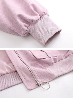 Pink Casual Pockets Long Sleeve Stand Collar Solid Zipper Coat_5