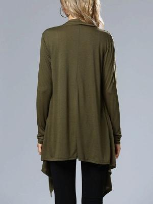 Casual Long Sleeve Solid Asymmetrical Summer Coat_5