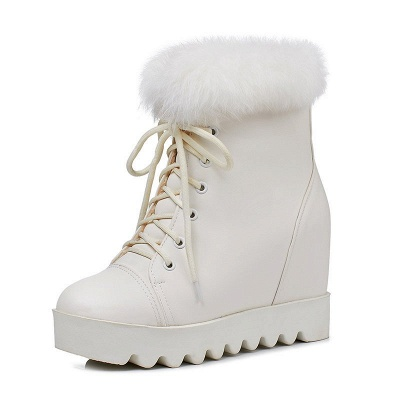 Lace-up Daily Wedge Heel Round Toe Fur PU Boot_8