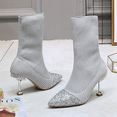 Daily Pointed Toe Cone Heel Knitted Fabric Elegant Boots_3