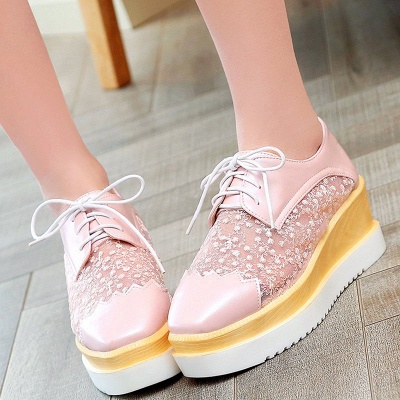 Mesh Lace-up Daily PU Pointed Toe Wedge Loafers_2