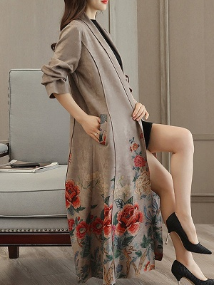 Casual Long Sleeve Pockets Floral-print A-line Coat_7
