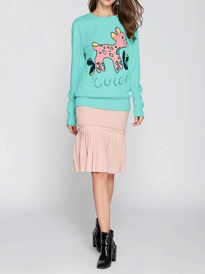 Green Crew Neck Long Sleeve Animal Sweater_4