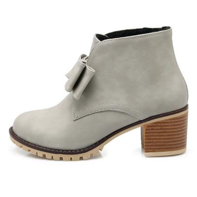 Daily Chunky Heel Bowknot Round Toe Elegant Boots_8