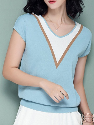 Short Sleeve Knitted Paneled Casual Sweater_3