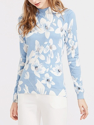 Blue Floral Casual Long Sleeve Stand Collar Sweater_1
