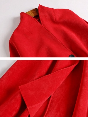Red Buttoned Asymmetrical Long Sleeve Coat_8