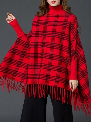Checkered/Plaid Elegant Batwing Sweater_2