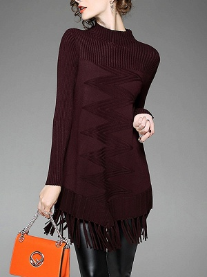 Burgundy Geometric Sheath Casual Sweater_1