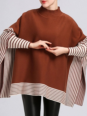 Batwing Shift Casual Printed Sweater_1