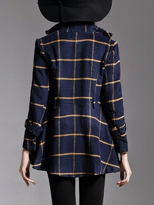 Navy Blue Bow Casual Stand Collar Checkered/Plaid Coat_3