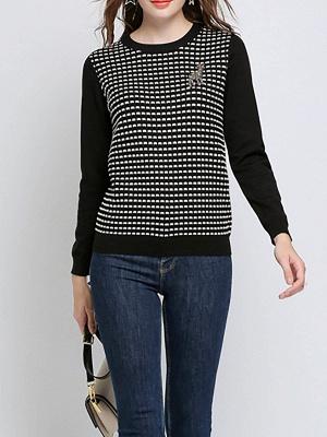 Black Long Sleeve Beaded Casual Crew Neck Sweater_7