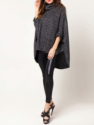 Batwing Cotton Shift Solid Casual Sweater_7