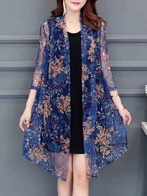 3/4 Sleeve Casual Printed Floral Chiffon Coat_2