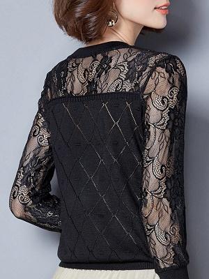 Shift Casual Long Sleeve Geometric Sweater_6