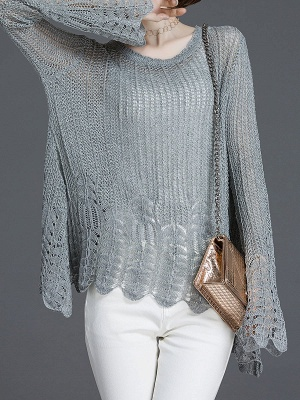 Crocheted Daily Casual Knitted Shift Sweater_3