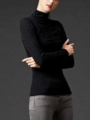 Sheath Long Sleeve Casual Solid Turtleneck Sweater_3