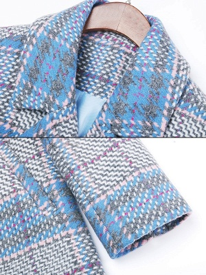 Blue Checkered/Plaid Work Buttoned Pockets Coat_6