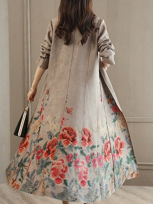 Casual Long Sleeve Pockets Floral-print A-line Coat_4