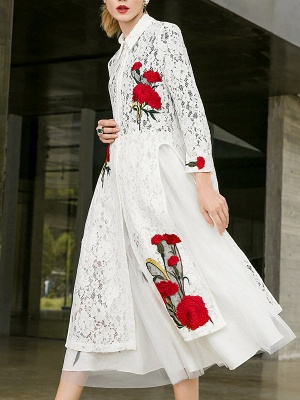 Paneled Long Sleeve Floral Casual Lace Coat_9