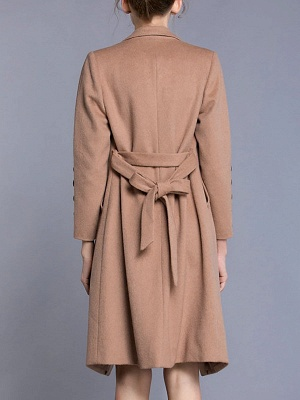 Apricot Long Sleeve Solid Buttoned Pockets Coat_3