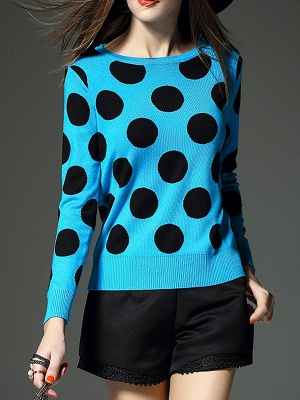 Blue Polka Dots Crew Neck Long Sleeve Casual Sweater_6
