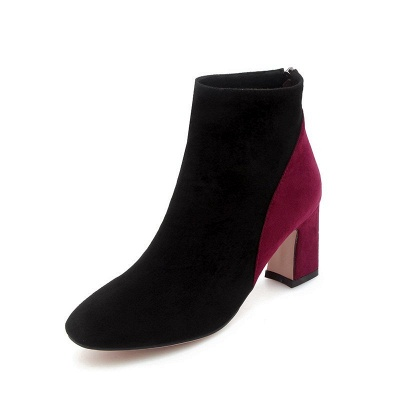 Women Daily Chunky Heel Suede Color Block Boots_1