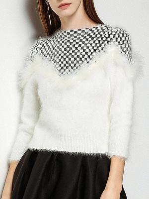 Long Sleeve Checkered/Plaid Sheath Casual Sweater_1