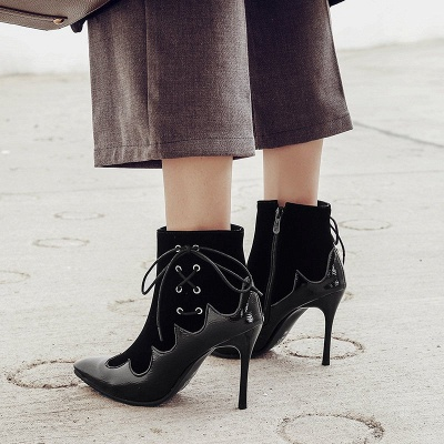 Lace-up Daily Stiletto Heel Zipper Pointed Toe Elegant Boots_7