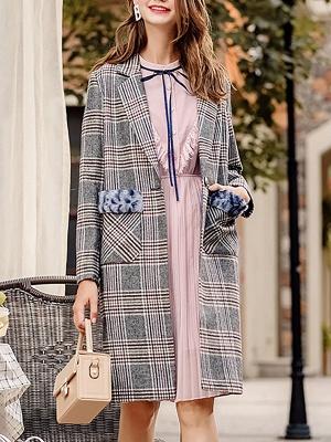 Gray Checkered/Plaid Long Sleeve Pockets Coat_4