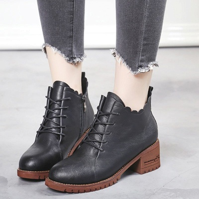 Chunky Heel Zipper Round Toe Lace-up Boots_2