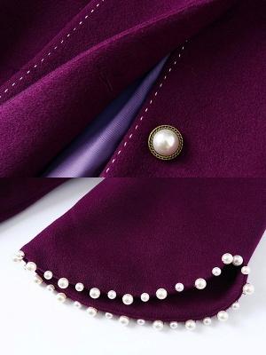 Purple Beaded Work Lapel 3/4 Sleeve Buttoned Coat_5