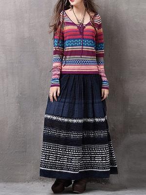 Multicolor Printed Long Sleeve Geometric Sweater_4
