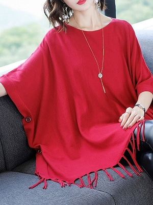 Casual Batwing Crew Neck Fringed Solid Sweater_2