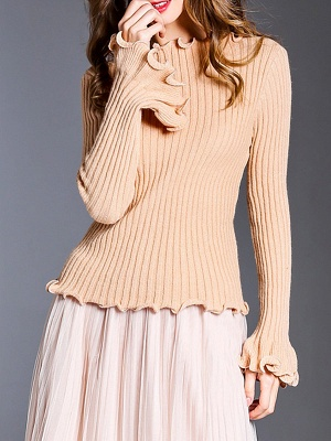 Apricot Wool Bateau/boat neck Solid Casual Sweater_5
