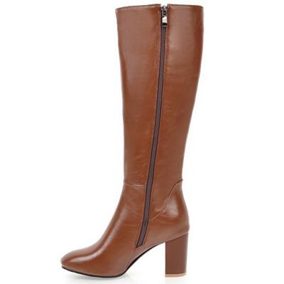 Zipper Chunky Heel Daily Round Toe Elegant Boots_8
