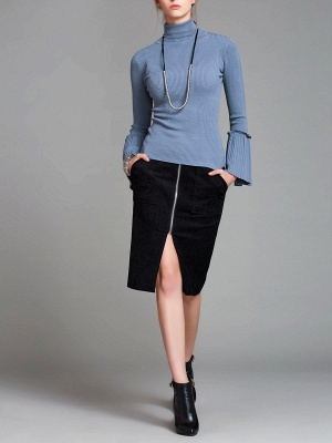 Turtle Neck Casual Bell Sleeve Pleated Sweater_14