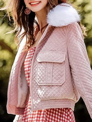 Long Sleeve Casual Paneled Shawl Collar Pockets Zipper Fluffy  Coat_9