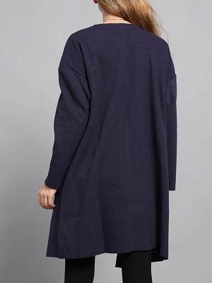 Navy Blue Pockets Solid Long Sleeve Coat_3
