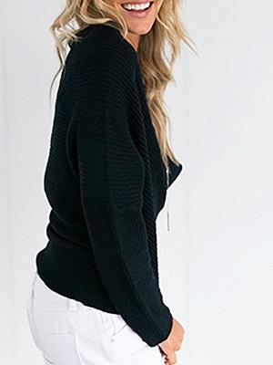 V neck Midi Dress Shift Dress Long Sleeve Casual Solid Dress_3