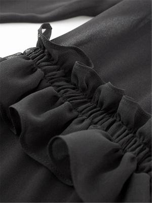 Crew Neck Casual Ruffled Long Sleeve Chiffon Coat_7